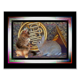 Bunny and Kitten with French Horn Posters