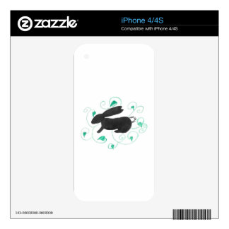 Bunny and Leaves iPhone 4 Decal
