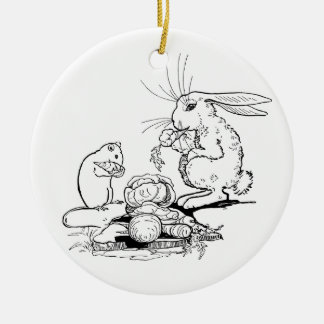 Bunny and Mouse Eat Veggies Ceramic Ornament