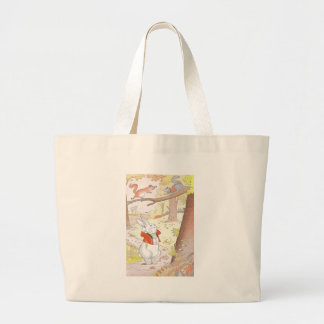 Bunny and Noisy Squirrels Large Tote Bag