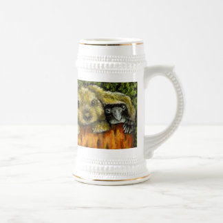 Bunny and raven 18 oz beer stein
