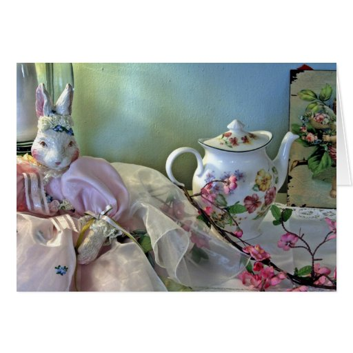 Bunny And Teapot Greeting Card
