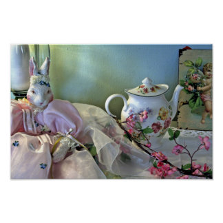 Bunny And Teapot Poster