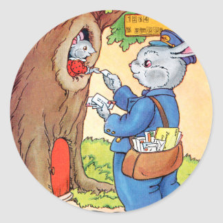 Bunny And the Mailman Classic Round Sticker