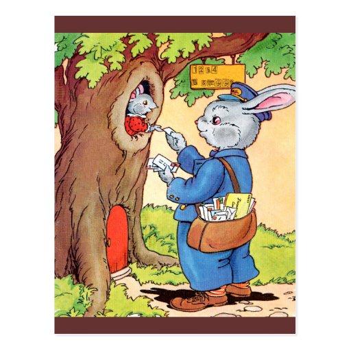 Bunny And the Mailman Postcard