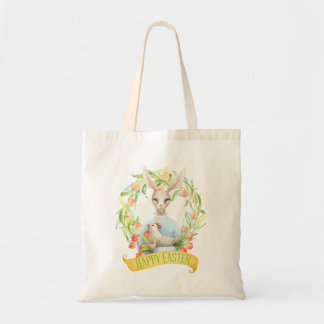 Bunny and Tulip Wreath Happy Easter Tote Bag