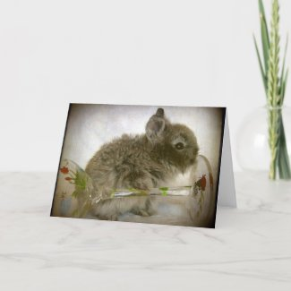 Bunny and Wine Glass card