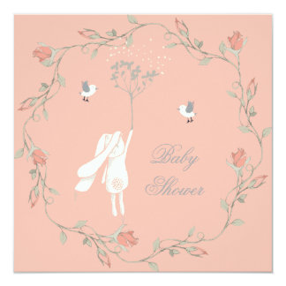 Bunny and Wreath Baby Shower 5.25x5.25 Square Paper Invitation Card