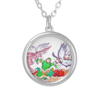 Bunny angels delivering baby round pendant necklace