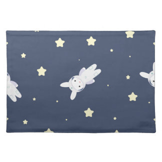 Bunny-astronaut in open space cloth placemat