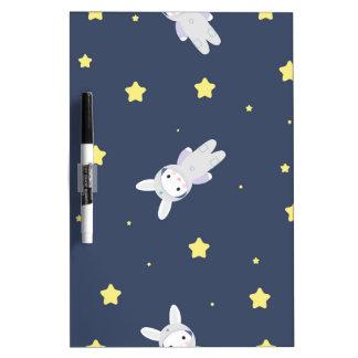 Bunny-astronaut in open space dry erase board