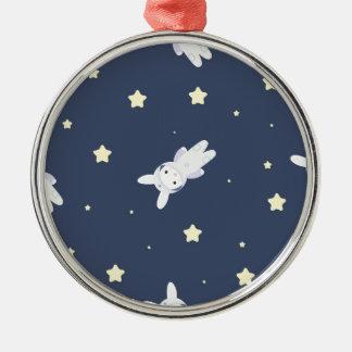 Bunny-astronaut in open space metal ornament
