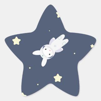 Bunny-astronaut in open space star sticker
