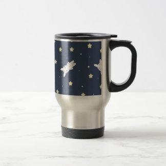 Bunny-astronaut in open space travel mug