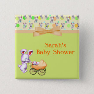 Bunny Babies,Creamy Colors Baby Shower Button