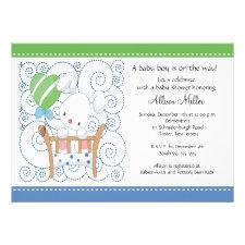 Bunny Baby Boy Baby Shower Invitations