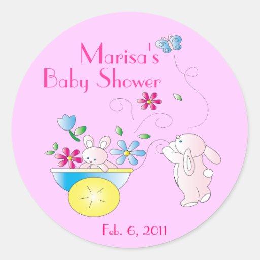 bunny baby personalized baby shower stickers zazzle