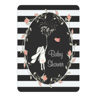 Bunny Baby Shower Black White Stripe Floral Wreath Card