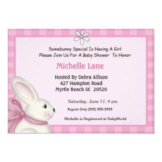 "Bunny Baby Shower Invitation 5"" X 7"" Invitation Card"