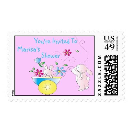 Bunny Baby Shower Invitation Postage Stamp