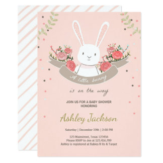 Bunny Baby Shower Invitation Rabbit Spring Floral