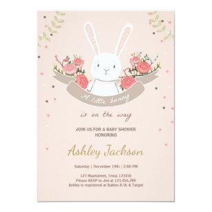 Bunny Baby Shower Invitation Rabbit Spring Fl