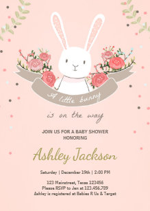 Bunny Baby Shower Invitation Rabbit Spring Floral