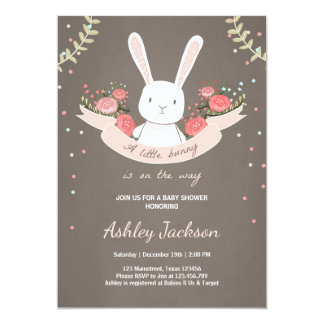 Marvelous Bunny Baby Shower Invitation Rabbit Spring Floral