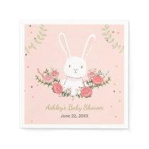 Bunny Baby Shower Paper Napkin Woodland Pink Girl