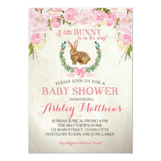 Bunny BABY SHOWER pink Beautiful Floral Invitation
