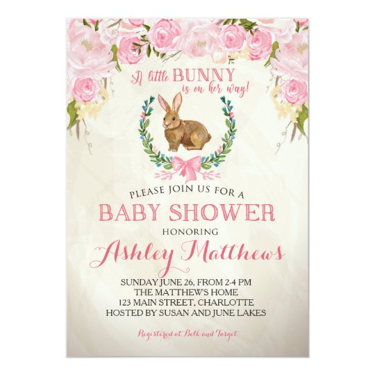 Bunny Baby Shower Pink Beautiful Floral Invitation Zazzle