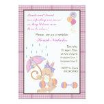 Bunny baby sprinkle purple plaid border card