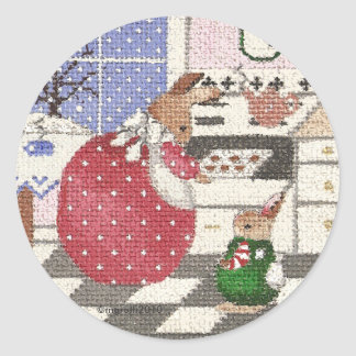 bunny baking cookies classic round sticker