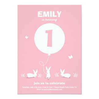 BUNNY BALLOON   Light Pink Kids Birthday Invite