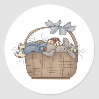 Bunny Basket Magnet Classic Round Sticker