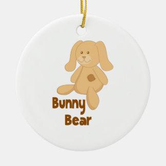 Bunny Bear Double-Sided Ceramic Round Christmas Ornament