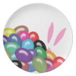 Bunny Behind Jelly Beans Melamine Plate