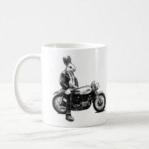 bunny, biker, motorcycle, rabbit, funny, cool, humor, 80s, vintage, collage, bizarre, moto, animals, bike, humorous, crazy, jacket, leather, vector, mug, Caneca com design gráfico personalizado