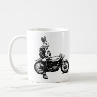 Bunny biker coffee mug