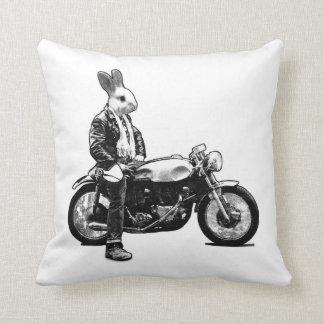 Bunny biker throw pillow