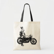 bunny, biker, funny, motorcycle, cool, humor, 80s, vintage, badass, moto, animals, bike, badas bunny, humorous, funny bunny, bag, Bag with custom graphic design