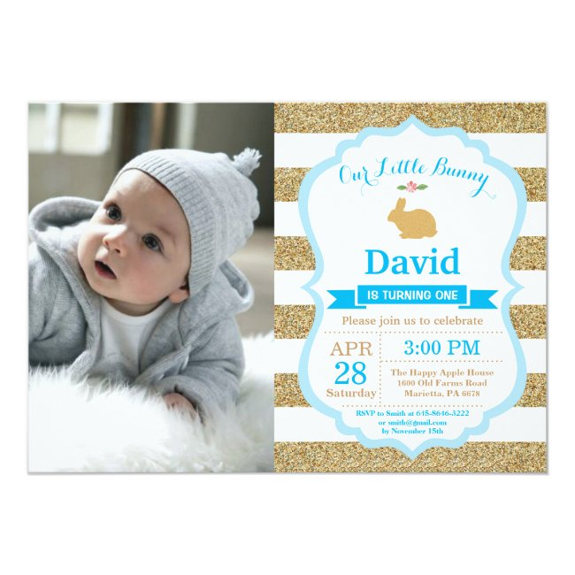Bunny Birthday Boy Easter Egg 1st First Birthday Invitation