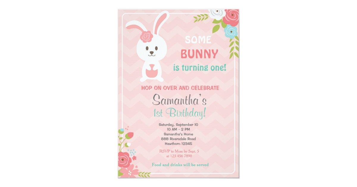 Bunny Birthday Invitation Bunny Invitation Zazzlecom - Bunny birthday invitation template