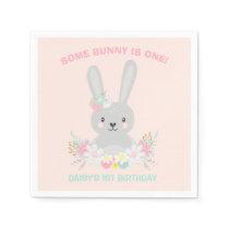 Bunny Birthday Party Napkin Some Bunny Birthday