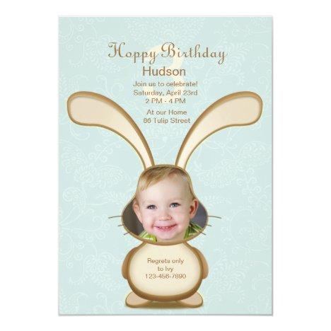 Bunny Birthday Photo Invitation