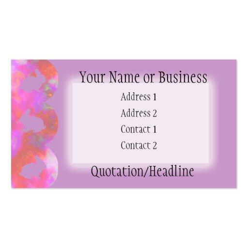 Bunny Border: Pink Rainbow on Lavender Business Card