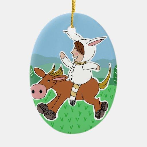 Bunny boy riding a horse ceramic ornament
