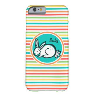 Bunny; Bright Rainbow Stripes Barely There iPhone 6 Case