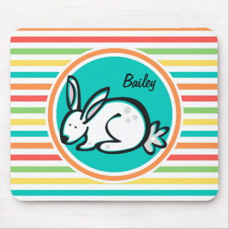 Bunny Bright Rainbow Stripes Mouse Pads