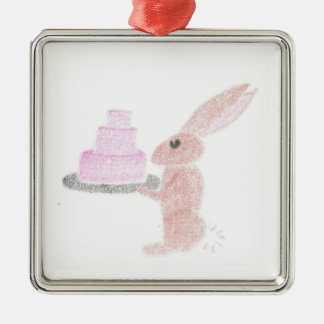 Bunny Brings Out The Cake Metal Ornament